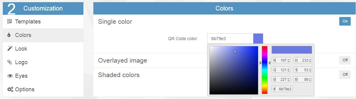デザインQRコードのカラー