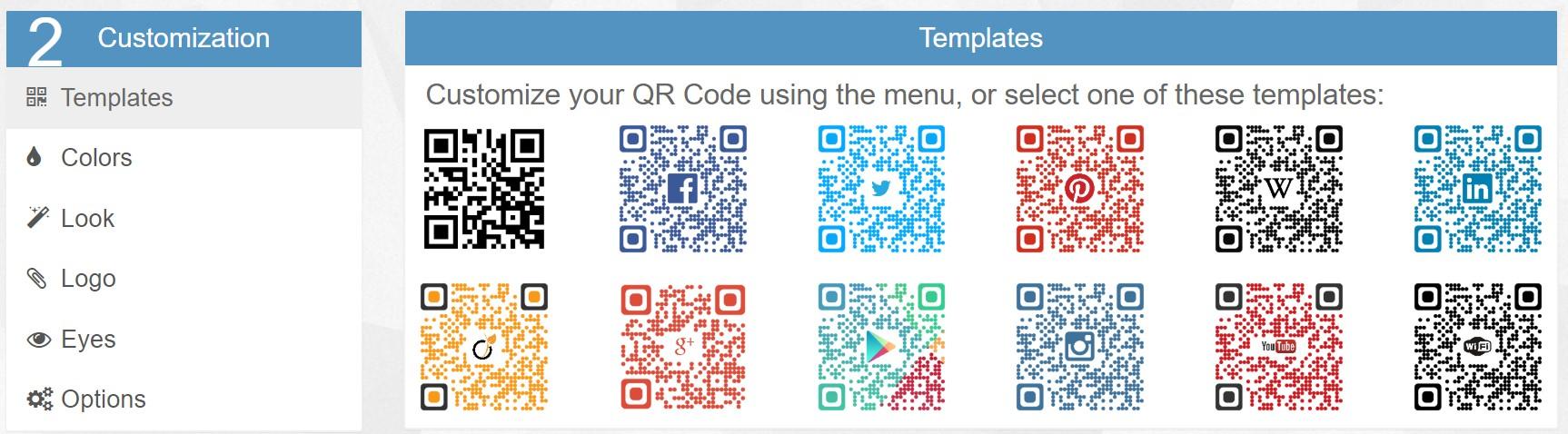 デザインQRコードのテンプレート