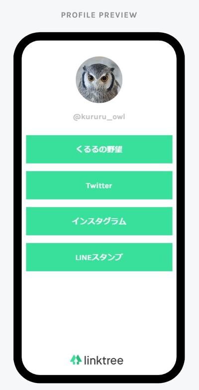 Linktreeで作成したプロフィール